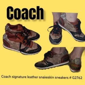 Coach signature leather snakeskin sneakers # G2762